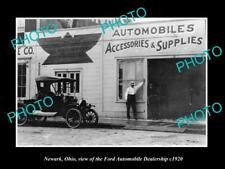 OLD LARGE HISTORIC PHOTO OF NEWARK OHIO, THE FORD CAR DEALERSHIP c1920