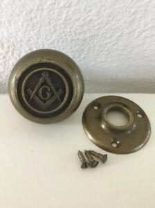 "Antique Masonic Mason Door Knob The Letter ""G"" Bronze"