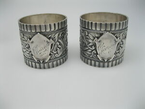 RARE Pair of c1897 Gorham Sterling Silver Napkin Rings #1980
