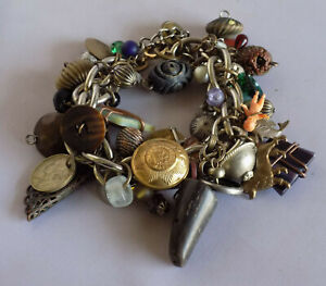 Vintage Brass Boho Packed Charm Bracelet Buttons Glass Wood Eclectic OOAK