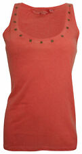 Ex-Store Ladies Racer Back Vest Top with Stud Detail Neckline Coral Pink