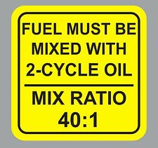 1 1/2 inch 40:1 2-Cycle Oil Fuel Mix Ratio Sticker Decal Chain Saw  Motorcycle