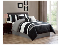 7 Pcs Oversized Luxury Embroidery Pettern Microfiber Comforter Set Gray,Cal King