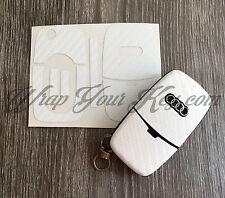 BLANC FIBRE DE CARBONE clé Couverture Enveloppante superposé Audi à distance A1