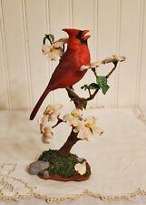 Bob Guge Cardinal Bird in Blossoms Springtime Music Sculpture Danbury Mint