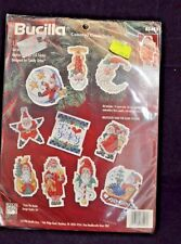 1996 BUCILLA COUNTED CROSS STITCH 10 SANTA ORNAMENTS DESIGNED BY SANDY ORTON