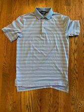 Ralph Lauren Polo Golf Vintage Men's Small S Baby Blue White Stripe Shirt Short