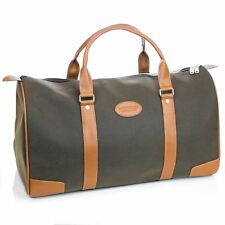 74d6b8b9f Mens Travel Bag Holdall Weekend Overnight Leather LOOK Duffle Khaki Medium