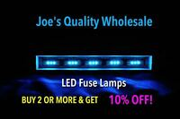(25)BLUE LED 8V FUSE LAMPS 29MM/7070-8080DB-9090/VINTAGE STEREO 6060-5050/QR-QRX