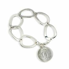 NEW Silver Standing Liberty Coin Sterling Silver Oval Link Coin Bracelet 11431