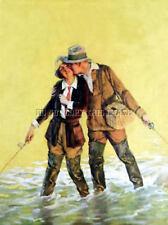 ANTIQUE 8X10 REPRO PHOTO PRINT MAN WOMAN TROUT FLY FISHING