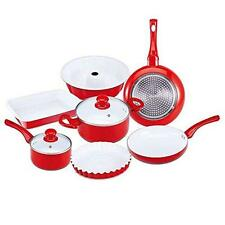 Royalty Link 9 Piece Induction Cookware Pan Set Red Loaf Baking Pan Cake Mould