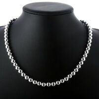 Silver Plated Necklace Hollow Beads Balls B20