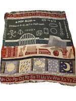 American Weavers ABC alphabet teachers Tapestry Throw Blanket division calendar