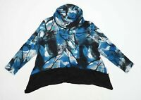 Saloos Womens Size 16 Abstract Cotton Blend Cowl Neck Blue Top (Regular)