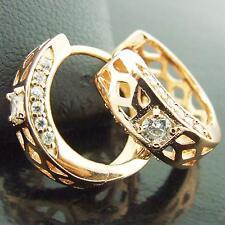 FS371 GENUINE 18K ROSE G/F GOLD SOLID DIAMOND SIMULATED HUGGIE HOOP EARRINGS