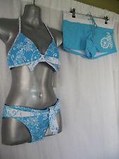 BNWT Ladies Sz 12 Three Piece Aqua/White Swim Set Bikini & Matching Swim Shorts