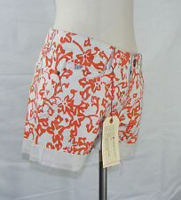 DVF & Current/Elliott 27 Cuffed Denim Shorts Floral Coral Burma Rose Orange Tan