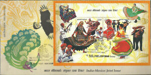 India MS FDC  2010 Mexico Joint issue dance guitar music musical singer dancing