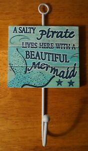 SALTY PIRATE & MERMAID LIVES HERE Hook Sign Tropical Tiki Bar Coastal Home Decor