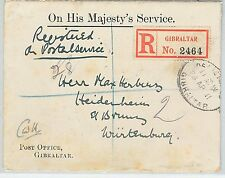 62289 -  GIBRALTAR - POSTAL HISTORY -  REGISTERED Official COVER to GERMANY 1951