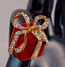Christmas Holiday Red Enamel Present Gift Wrapped Pave Crystal Ribbon Brooch Pin