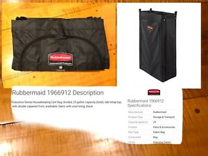Rubbermaid 1966912 Divided Housekeeping Janitor Cart Bag Double Front Zipper NEW
