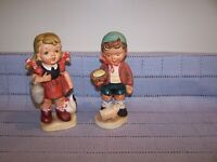 VTG PAIR PORCELAIN FARM GIRL & BOY HUMMEL LOOK FIGURINES-Crossed Arrows