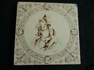 "RECLAIMED ART NOUVEAU SEPIA CERAMIC NURSERY TILE Boy on Pony et 6"" x 6"" c.1900's"