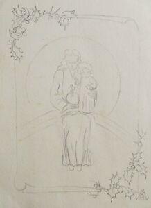 """HERMIA VON MALTZAHN GERMAN PENCIL SKETCH """"MOTHER AND CHILD"""" C 1930 A"""