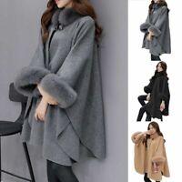 Women's Flare Sleeve Faux Fox Fur Collar Winter Wool Cloak Cape Coat Poncho Warm