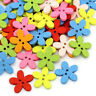 HK- 50Pcs Flower Wooden Button Needlework Sewing Scrapbooking Cards Craft DIY De