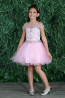 Calla Collection Pink Beaded Pageant Prom Grad Wedding Girls Dress 6 8 10 14 16