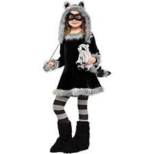 Sweet Raccoon Girls Dress Halloween Costume Kids Child Teen Cute Medium Black