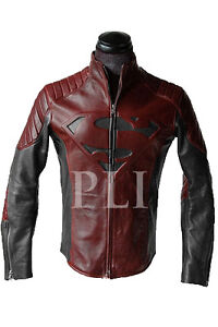 NEW SUPERMAN MAN OF STEEL SMALLVILLE BLACK AND RED LEATHER S SHIELD JACKET- BNWT