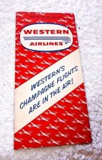 VINTAGE PAMPHLET WESTERN AIRLINES TIME TABLE FARES 1958 DC 6B AIRPLANES 1958
