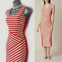 Karen Millen 10 Narrow Stripe Print Jersey Stretch Pencil Mid Length Dress EU 38