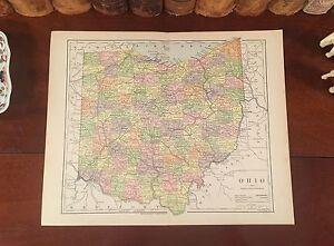 Original 1885 Antique Map OHIO Canton Findlay Xenia Urbana Ashland Tiffin Piqua