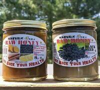 RAW HONEY (2 Jars: 1 of Ea) + GINGER, TURMERIC, CINNAMON & BLACK SEED 12oz/340g