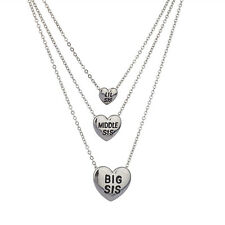Lux Silvertone Three Sisters Heart Charm Necklace Set