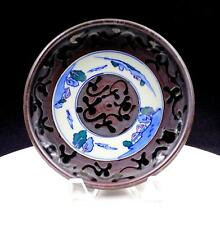 """ASIAN ART POTTERY BROWN WITH BLUE & WHITE DELFT INSERT 6 3/4"""" LOW BOWL"""