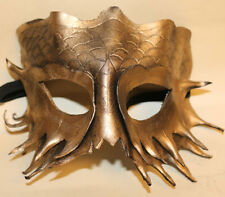 Gold Serpent Dragon Mask Handmade Leather Venetian Masquerade