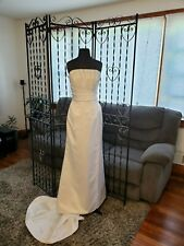 Wedding Gown Informal White Satin Asymmetric Sheath Strapless w/ beading Size 14