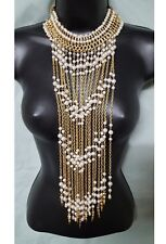"""Fashion Jewelry Gold Color Chain & White Pearl-like Beads 19"""" Statement Necklace"""