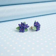 Violet Posy Gioielli Orecchini fiore dipinto a mano in Galles, Regno Unito