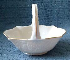 Lenox Ivory Porcelain Basket with Handle ~ Floral Design ~ 24K Gold Trim