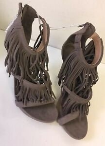 Mossimo Fringe Heels Fiona Womens Size 8 Grey Gray Heels Shoes Sandals New