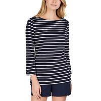 NWT Women's Navy Stripe NAUTICA Chambray-Cuff Top Size Medium M