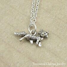 Silver Fox Charm Necklace - Wild Animal Coyote Fox Pendant Jewelry NEW