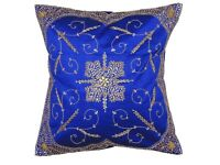 Decorative Blue Beaded Handmade Pillow Cover Floor Lounge Large Euro Cushion 26""